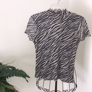 NY&Co mock neck zebra print top
